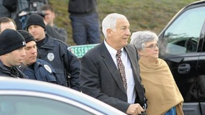 Jerry Sandusky and his wife, Dottie, arrive Tuesday at the Centre County Courthouse for his preliminary hearing.