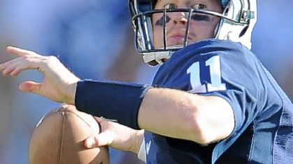 Penn State quarterback Matt McGloin drops back to pass against Iowa at Beaver Stadium on Oct. 8.
