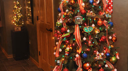 The sports-themed Christmas tree at Rose Romboski's house.