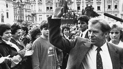 Hello, Mr. President: Vaclav Havel in June 1990 in Prague's Old Town Square.