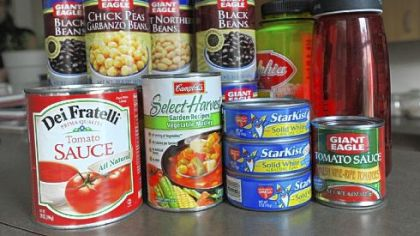 A sampling of items that may contain BPA from a local home's pantry.