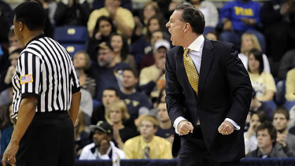 Pitt head coach Jamie Dixon argues a call as his team takes on Wagner in the first half Friday night.