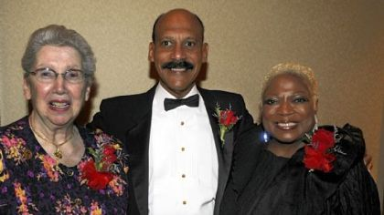 Sister Marie Immaculee, Larry Davis and Bev Smith.