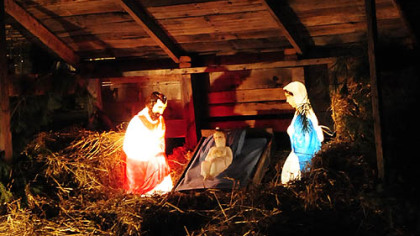 The nativity scene was crafted by Carol Vicini's son, Mike Palmer.