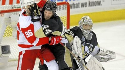 Brooks Orpik, right, and the Penguins got to know the Red Wings pretty well after two consecutive matchups in the Stanley Cup finals in 2008 and '09. The Penguins won this one == in '09 == four games to three.