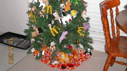 Marie Scholz, 88, of McDonald has a McDonald's theme tree up all year.