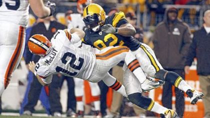 James Harrison delivers the hit in question to Colt McCoy during Thursday night's game at Heinz Field.