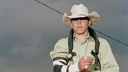 """Anonymous Cowboy,"" a 2008 image by Collier Schorr, is part of ""Mixed Signals: Artists Consider Masculinity in Sports"" at The Andy Warhol Museum.