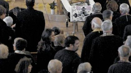 Mourners pay their last respects before the funeral of Metropolitan Nicholas at Christ the Saviour Cathedral in Johnstown on Friday.