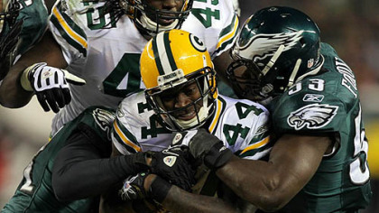 Packers running back James Starks ran for 123 yards against the Eagles in an NFC wild card playoff game at Lincoln Financial Field in Philadelphia Jan. 9, 2011.