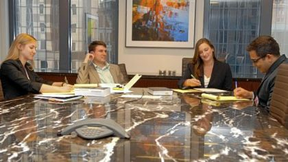 Summer associates at Cohen & Grigsby who are working on a new project to learn law firm business development are, from left, Andrea Bottorff, a student at the University of Pittsburgh School of Law; Alex Lacey, of the University of Michigan School of Law; Julie Patter, of the University of Virginia School of Law; and Aman Kakar, of the University of Pittsburgh School of Law.