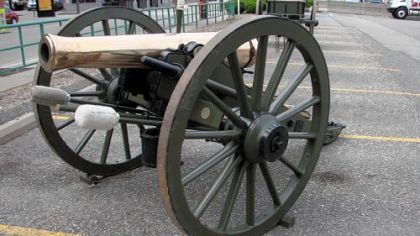 "The cannon is an exact replica of a 12-pound Napoleon, a cannon known as ""Old Number 8"" at Gettysburg. The weight refers to the size of the shell. The weapon is used by the Iron City Guards, a Pittsburgh-based artillery unit, in Civil War re-enactments."