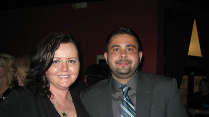 Daisy Balawejder, president of Hello Bully, with Chris Schindler of the Humane Society of the United States at Hello Bully''s 3rd annual Lovers Not Fighters Gala at the Zen Social Club.