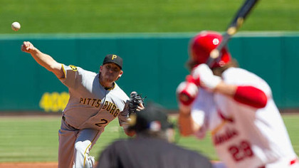 Pirates pitcher Kevin Correia throws against the the Cardinals&#039; Chris Carpenter at Busch Stadium in St. Louis Wednesday.