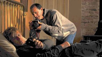 Director D.J. Caruso with Alex Pettyfer on the set.