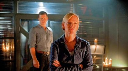 Eric Mabius and Hermione Norris are at odds on an Earth colony on the BBC America series &quot;Outcasts.&quot;