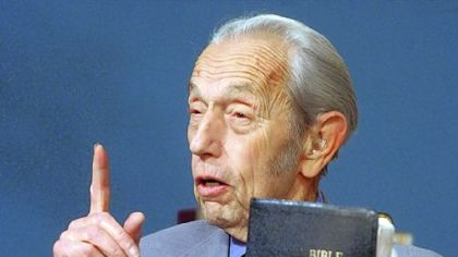 Harold Camping during a television broadcast in 2002.