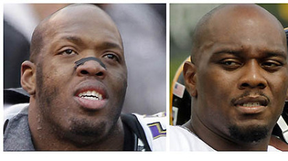 Ravens DE Terrell Suggs (left)and Steelers RT Flozell Adams