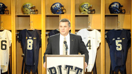 Pitt football head coach Todd Graham talks about his first recruiting class at Heinz Field Wednesday.