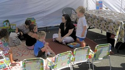 Story time is held at 10 a.m. Tuesdays and Saturdays at the Oxbow Market.