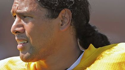 Pittsburgh Steelers safety Troy Polamalu watches defensive drills at training camp at St Vincent College, Latrobe, PA.