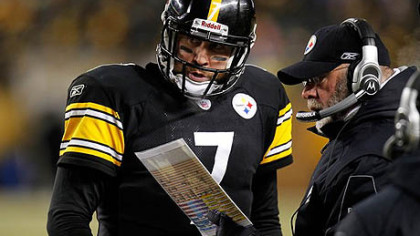 Steelers quarterback Ben Roethlisberger and offensive coordinator Bruce Arians.