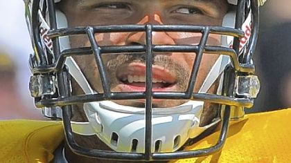 Steelers number one draft pick Cameron Heyward during training camp at Saint Vincent College in Latrobe.