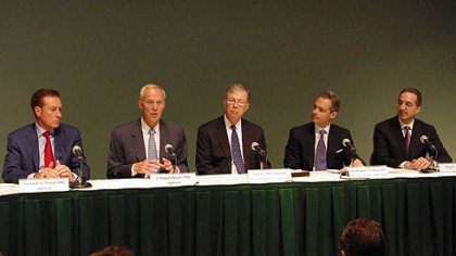 Officials from Highmark and West Penn Allegheny Health System, from left, Dr. Kenneth Melani, president and CEO, Highmark; J. Robert Baum, Highmark; David L. McClenehan, board chairman, WPAHS; Dr. Christopher Olivia, WPAHS; and Dr. Anthony Farah, chief medical officer, WPAHS.