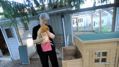 Nancy Chubb with Zoe, a Buff Orpinger chicken, at their home in the city's Spring Hill neighborhood.