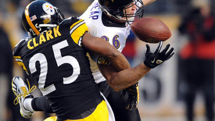 Steelers safety Ryan Clark breaks up a third down pass to Ravens tight end Todd Heap in the first quarter of tonight's game at Heinz Field.