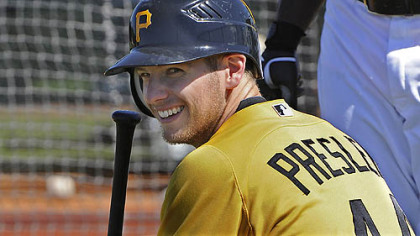 The Pirates' Alex Presley is capable of playing all three outfield positions.