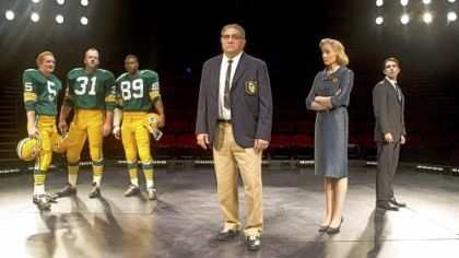 "Dan Lauria, center, portrays Vince Lombardi in the Broadway play ""Lombardi."" Others in the cast, from left, are Bill Dawes, Chris Sullivan, Robert Christopher Riley, Judith Light and Keith Nobbin."