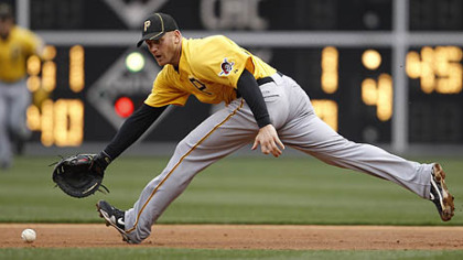 Pirates first baseman Lyle Overbay fields an RBI groundout by the Phillies' Wilson Valdez in the second inning Wednesday.