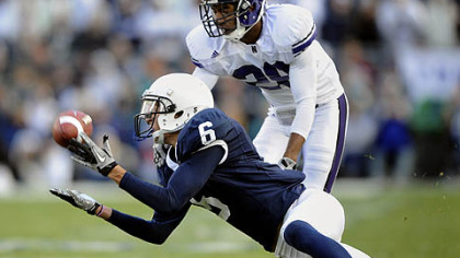 Penn State wide receiver Derek Moye hauls in a catch versus Northwestern last season.