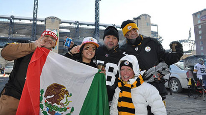 A group of Steelers fans from Mexico City who traveled up to Pittsburgh for the AFC Championship game against the Jets.