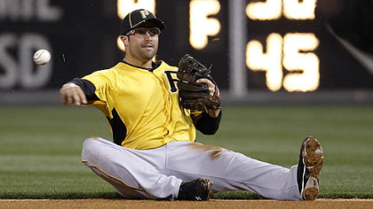 Pirates second baseman Neil Walker throws to first after fielding an RBI grounder by the Phillies' Jimmy Rollins, who was out at first, in the sixth inning of an exhibition game Tuesday in Philadelphia.