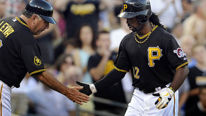 Andrew McCutchen watches the final outs Sunday against the San Diego Padres in the Pirates&#039; 10th consecutive loss.
