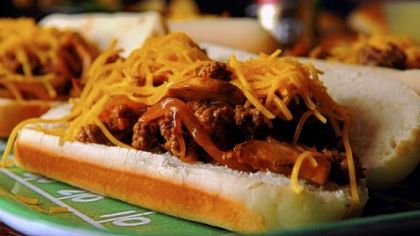 Chopped steak sandwich for NFL playoff parties.