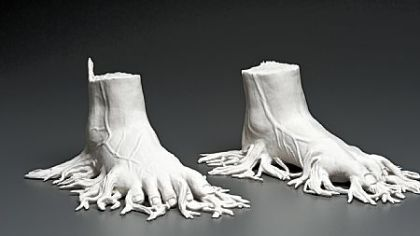 "Kate MacDowell's porcelain sculpture ""Migrant"" is part of ""DIY: A Revolution in Handicrafts,"" at the Society for Contemporary Craft."