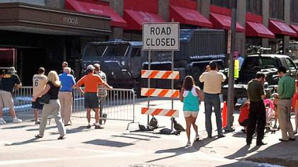 "Forbes Avenue was closed this morning at Smithfield Street for the filming of ""The Dark Knight Rises."""