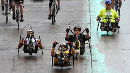 Racers in the wheelchair division participate in the 2011 Pittsburgh Marathon.