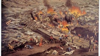 This chromolithograph of the Johnstown Flood of 1889 was published by Kurz and Allison, a Chicago firm famous for creating historically inaccurate prints of Civil War battles. In this scene, men are fully dressed while women are in their nightgowns even though the flood occurred shortly before 4 p.m.