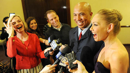 WTAE's Sally Wiggin shares a laugh with Hines Ward and Kym Johnson at the Art Rooney Awards April 7 at in Downtown Pittsburgh.