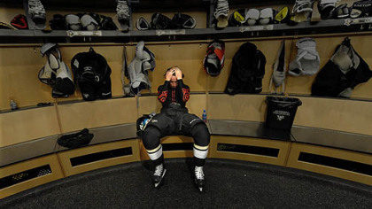 Forward James Neal sits alone in the Penguins locker room after losing Game 7 at Consol Energy Center Wednesday.