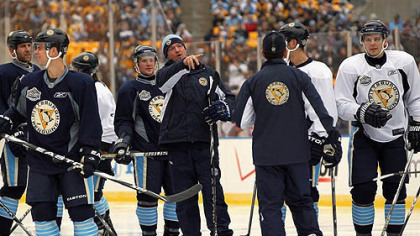 Despite major injury losses, coach Dan Bylsma has guided the Penguins to a 41-22-8 record.