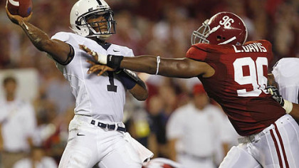 Penn State quarterback Robert Bolden is pressured by Alabama's Luther Davis durng a game at Bryant-Denny Stadium in Tuscaloosa, Ala. in September. Penn State lost to then top-ranked Alabama, 24-3.
