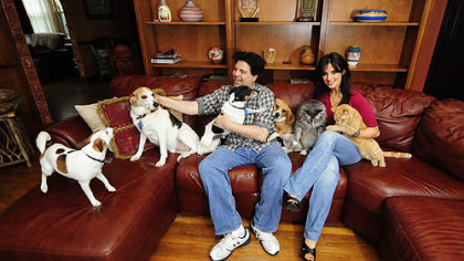 Jim and Hedy Krenn with their four dogs and two cats at home in Green Tree.