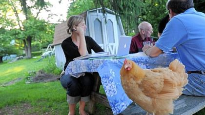 Zoe, a Buff Orpinger chicken, finds a corner of the picnic table with Sarah Jean Mayer and Roger Westman, back right, in Spring Hill. Nancy Chubb and her chickens are part of the 1st Annual Urban Chicken Coop Tour that takes place on Sunday.