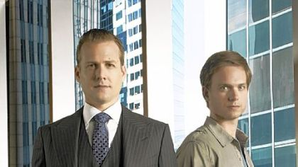 "Gabriel Macht, left, and Patrick Adams are lawyers in ""Suits."""