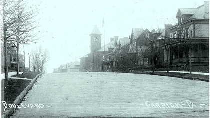 A view around 1910 of grand houses that lined The Boulevard in Carrick.